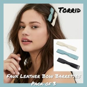 NWT Torrid Faux Leather Bow Barrettes Pack of 3